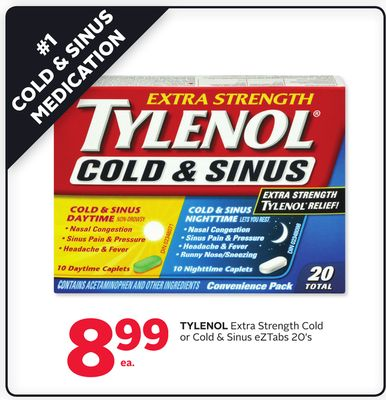 Tylenol Extra Strength Cold Or Cold & Sinus Eztabs 20's