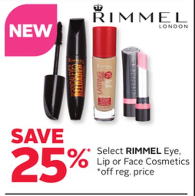 Select Rimmel Eye - Lip or Face Cosmetics