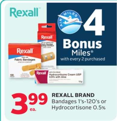 Rexall Brand Bandages 1's-120's or Hydrocortisone 0.5% - 4 Bonus Air Miles Reward Miles