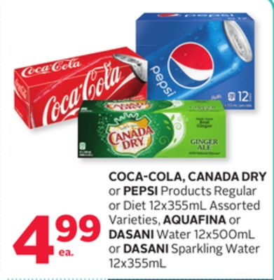 Coca-cola - Canada Dry Or Pepsi Products Regular Or Diet 12x355 ml - Aquafina Or Dasani Water 12x500 ml Or Dasani Sparkling Water 12x355 mL