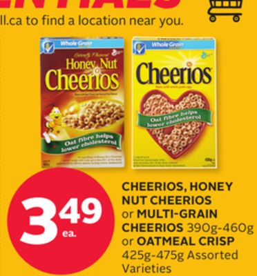 Cheerios - Honey Nut Cheerios or Multi-grain Cheerios 390g-460g or Oatmeal Crisp 425g-475g