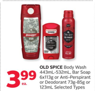 Old Spice Body Wash 443ml-532ml - Bar Soap 6x113g or Anti-perspirant or Deodorant 73g-85g or 123ml