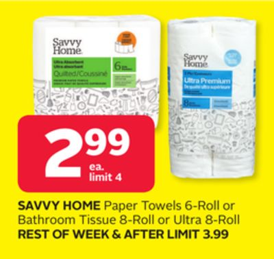 Savvy Home Paper Towels 6-roll or Bathroom Tissue 8-roll or Ultra 8-roll