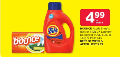 Bounce Fabric Sheets 80's Or Tide 2x Laundry Detergent 1.09l-1.18l Or 1.1kg Or Pods 14's