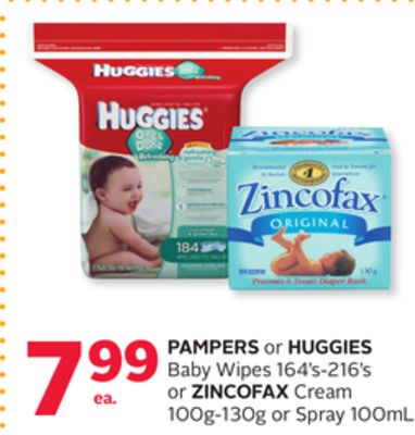 Pampers Or Huggies Baby Wipes 164's-216's Or Zincofax Cream 100g-130g Or Spray 100ml