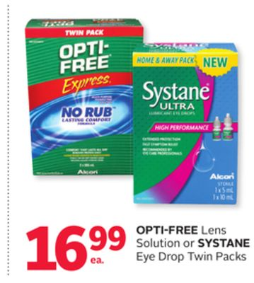 Opti-Free Lens Solution Or Systane Eye Drop Twin Packs