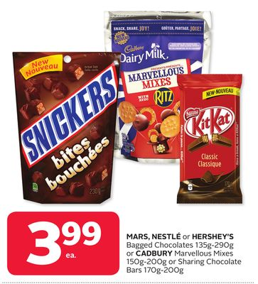Mars - Nestlé or Hershey's Bagged Chocolates 135g-290g or Cadbury Marvellous Mixes 150g-200g or Sharing Chocolate Bars 170g-200g