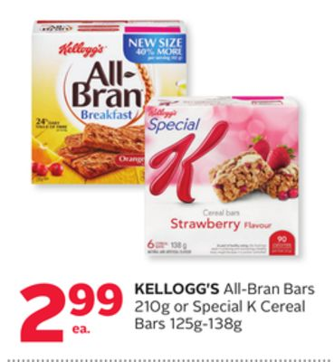 Kellogg's All-bran Bars 210g or Special K Cereal Bars 125g-138g