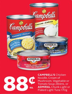 Campbell's Chicken Noodle - Cream Of Mushroom - Vegetable Or Tomato Soup 284ml Or Admiral Chunk Light Or Flaked Light Tuna 170g