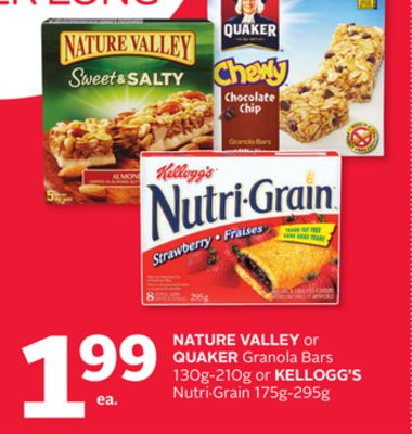 Nature Valley Or Quaker Granola Bars 130g-210g Or Kellogg's Nutrigrain 175g-295g