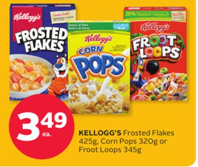 Kellogg's Frosted Flakes 425g - Corn Pops 320g or Froot Loops 345g