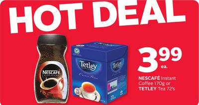 Nescafé Instant Coffee 170g or Tetley Tea 72's