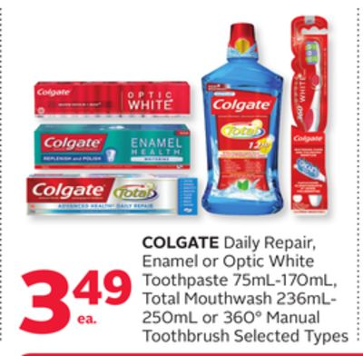Colgate Daily Repair - Enamel or Optic White Toothpaste 75ml-170ml - Total Mouthwash 236ml- 250ml or 360° Manual Toothbrush