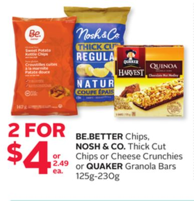 Be.better Chips - Nosh & Co. Thick Cut Chips or Cheese Crunchies or Quaker Granola Bars 125g-230g