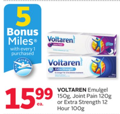 Voltaren Emulgel 150g - Joint Pain 120g or Extra Strength 12 Hour 100g - 5 Bonus Air Miles Reward Miles