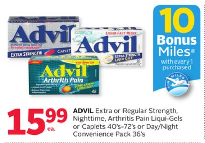 Advil Extra or Regular Strength - Nighttime - Arthritis Pain Liqui-gels or Caplets 40's-72's or Day/night Convenience Pack 36's - 10 Bonus Air Miles Reward Miles