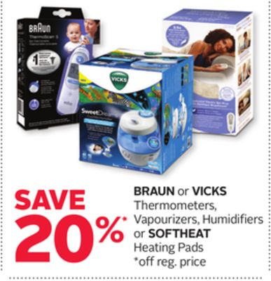 Braun or Vicks Thermometers - Vapourizers - Humidifiers or Softheat Heating Pads