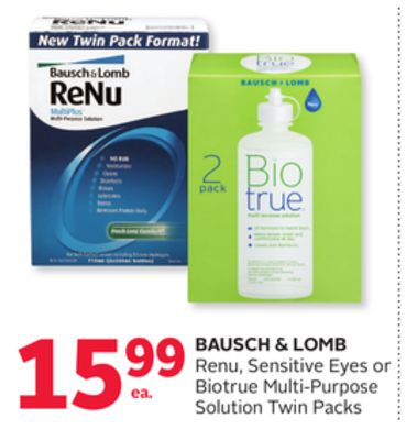 Bausch & Lomb Renu - Sensitive Eyes or Biotrue Multi-purpose Solution Twin Packs