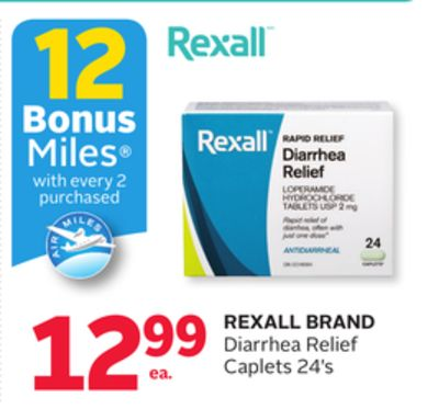 Rexall Brand Diarrhea Relief Caplets - 12 Bonus Air Miles Reward Miles