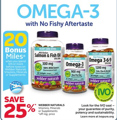 Webber Naturals Vitamins - Minerals or Supplements - 20 Bonus Air Miles Reward Miles