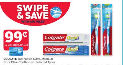 Colgate Toothpaste 60ml-95ml or Extra Clean Toothbrush