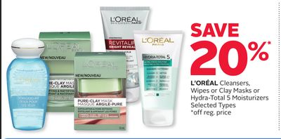 L'oréal Cleansers - Wipes or Clay Masks or Hydra-total 5 Moisturizers