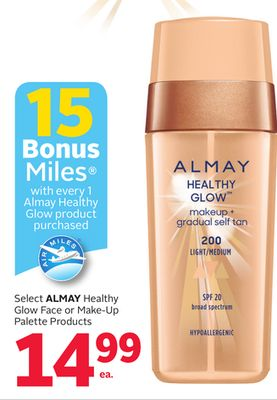 Select Almay Healthy Glow Face or Make-up Palette Products - 15 Bonus Air Miles Reward Miles