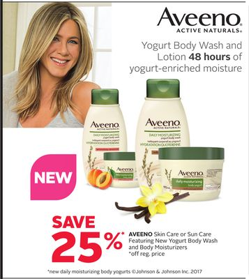 Aveeno Skin Care or Sun Care Featuring New Yogurt Body Wash and Body Moisturizers