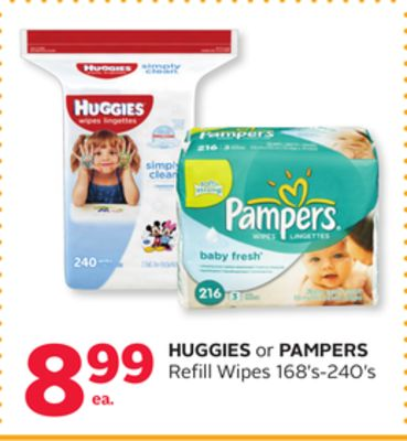 Huggies or Pampers Refill Wipes