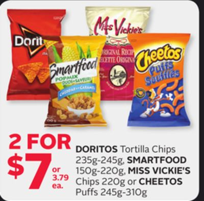 Doritos Tortilla Chips 235g-245g - Smartfood 150g-220g - Miss Vickie's Chips 220g Or Cheetos Puffs 245g-310g