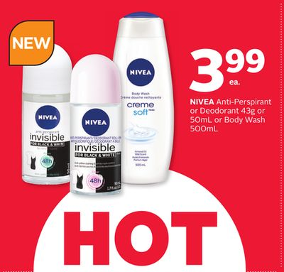 Nivea Anti-perspirant or Deodorant 43g or 50ml or Body Wash 500ml