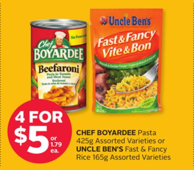 Chef Boyardee Pasta 425g or Uncle Ben's Fast & Fancy Rice 165g