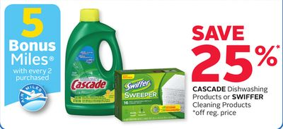 Cascade Dishwashing Products or Swiffer Cleaning Products - 5 Bonus Air Miles Reward Miles