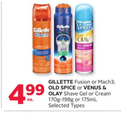 Gillette Fusion or Mach3 - Old Spice or Venus & Olay Shave Gel or Cream 170g-198g or 175ml