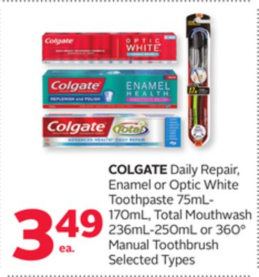 Colgate Daily Repair - Enamel or Optic White Toothpaste 75ml- 170ml - Total Mouthwash 236ml-250ml or 360° Manual Toothbrush
