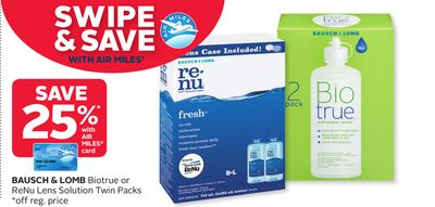 Bausch & Lomb Biotrue or Renu Lens Solution Twin Packs
