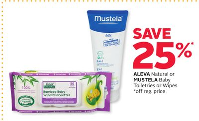 Aleva Natural or Mustela Baby Toiletries or Wipes