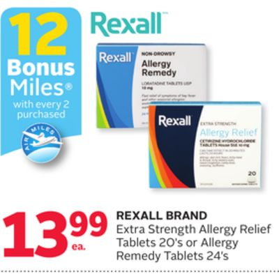 Rexall Brand Extra Strength Allergy Relief Tablets 20's or Allergy Remedy Tablets 24's - 12 Bonus Air Miles Reward Miles