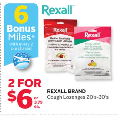 Rexall Brand Cough Lozenges - 6 Bonus Air Miles Reward Miles