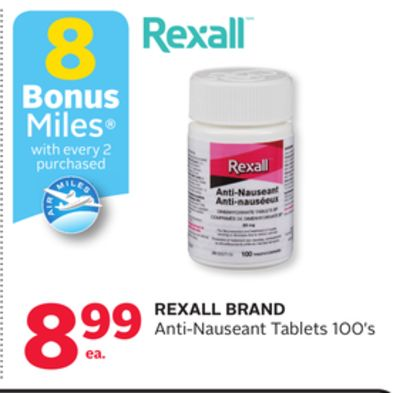 Rexall Brand Anti-nauseant Tablets - 8 Bonus Air Miles Reward Miles