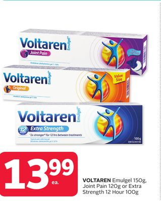 Voltaren Emulgel 150g - Joint Pain 120g or Extra Strength 12 Hour 100g