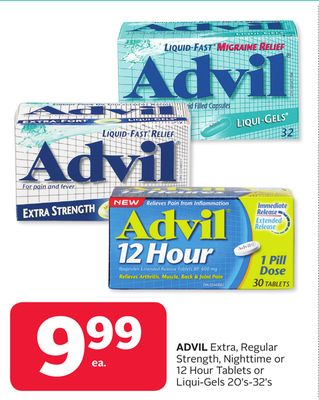Advil Extra - Regular Strength - Nighttime or 12 Hour Tablets or Liqui-gels 20's-32's