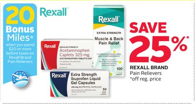 Rexall Brand Pain Relievers - 20 Bonus Air Miles Reward Miles