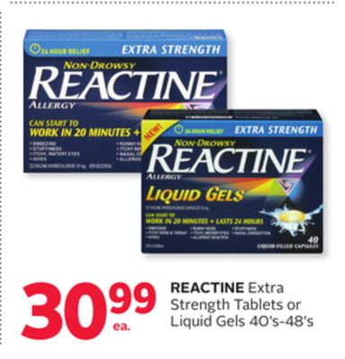 Reactine Extra Strength Tablets or Liquid Gels 40's-48's