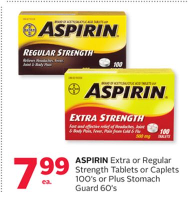 Aspirin Extra or Regular Strength Tablets or Caplets 100's or Plus Stomach Guard 60's