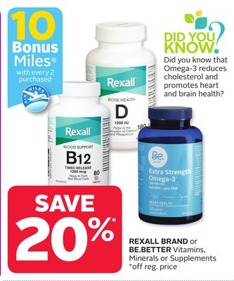 Rexall Brand or Be.better Vitamins - Minerals or Supplements - 10 Bonus Air Miles Reward Miles