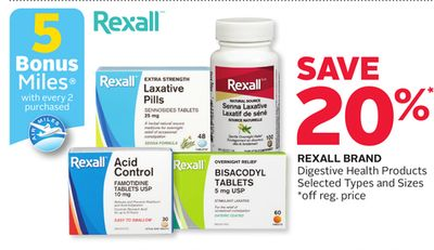 Rexall Brand Digestive Health Products - 5 Bonus Air Miles Reward Miles