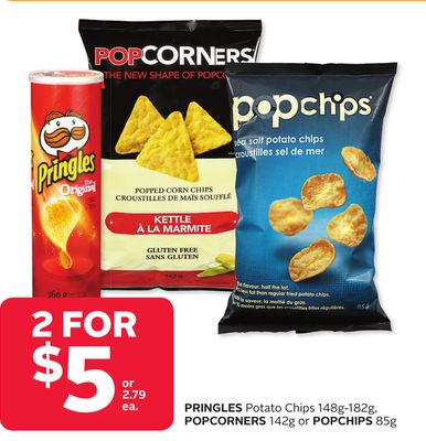 Pringles Potato Chips 148g-182g - Popcorners 142g or Popchips 85g