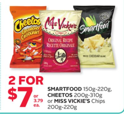 Smartfood 150g-220g - Cheetos 200g-310g or Miss Vickie's Chips 200g-220g