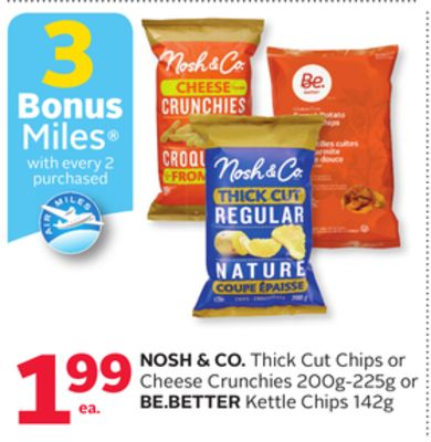 Nosh & Co. Thick Cut Chips or Cheese Crunchies 200g-225g or Be.better Kettle Chips 142g - 3 Bonus Air Miles Reward Miles